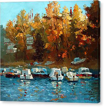 Canvas Print featuring the painting Boat On The Waterfront by Dmitry Spiros
