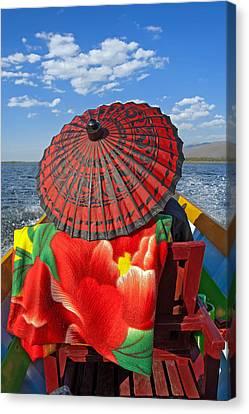 Boat Passanger With Pathein Umbrella Canvas Print by Judith Barath