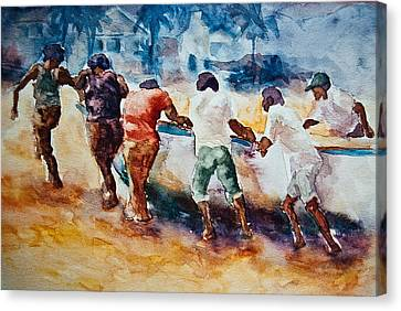 Canvas Print featuring the painting Men At Work by Jani Freimann