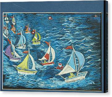 Canvas Print featuring the drawing Boat Race/bernie And Joe by Joseph Hawkins