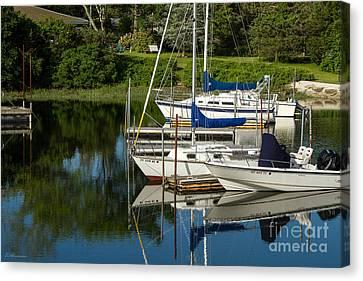 Boat Reflections In Cape Cod Hen Cove Canvas Print by Eleanor Abramson