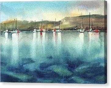 Boat Reflections Canvas Print by Sophia Rodionov