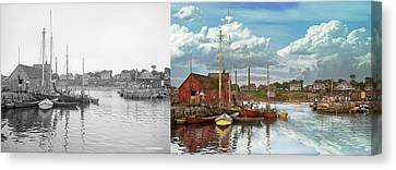 Boat - Rockport Mass - Motif Number One - 1906 - Side By Side Canvas Print by Mike Savad
