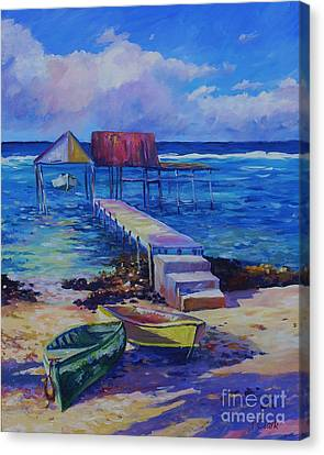 Boat Shed And Boats Canvas Print by John Clark