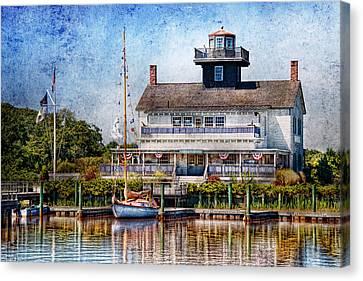 Boat - Tuckerton Seaport - Tuckerton Lighthouse Canvas Print by Mike Savad
