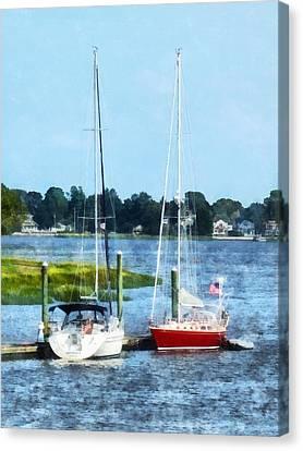 Boat - Two Docked Sailboats Norwalk Ct Canvas Print by Susan Savad