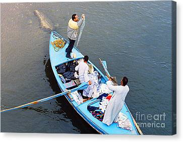 Canvas Print featuring the photograph Boat Vendors by Cassandra Buckley