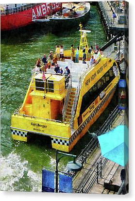 Boat - Water Taxi At South Street Seaport Canvas Print by Susan Savad