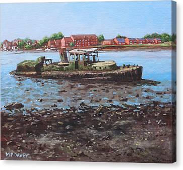 Boat Wreck At Bitterne Manor Park Canvas Print by Martin Davey