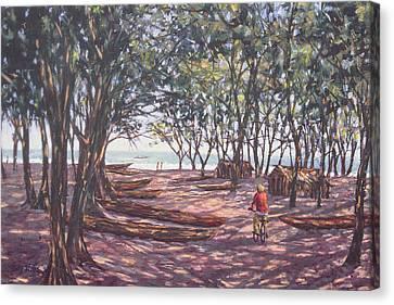Boat Yard, Kafountine, 1998 Oil On Canvas Canvas Print