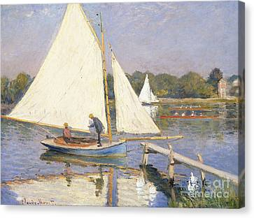 Boaters At Argenteuil Canvas Print by Claude Monet