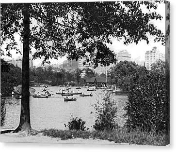 Boaters In Central Park Canvas Print by Underwood Archives