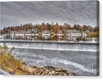 Boathouse Row Across The Dam Canvas Print by Mark Ayzenberg