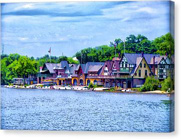 Boathouse Row Along The Schuylkill River Canvas Print