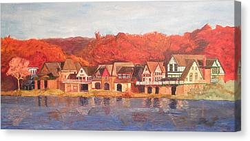 Boathouse Row Canvas Print by Andrew Hench