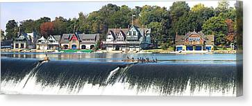 Boathouse Row At The Waterfront Canvas Print