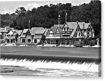 Boathouse Row - Bw Canvas Print by Lou Ford