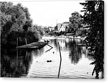 Boathouse Row Lagoon In Black And White Canvas Print by Bill Cannon