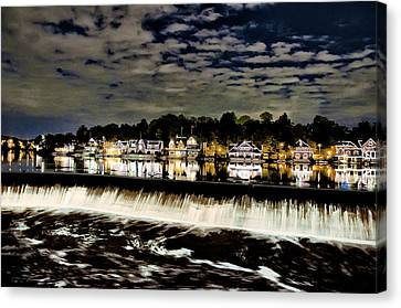 Boathouse Row Lights Canvas Print by Bill Cannon