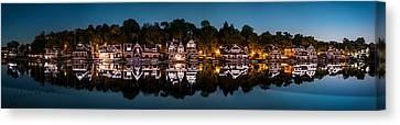 Canvas Print featuring the photograph Boathouse Row Panorama by Mihai Andritoiu