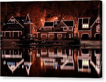Boathouse Row Reflection Canvas Print by Deborah  Crew-Johnson