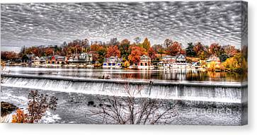 Boathouse Row Under The Clouds Canvas Print by Mark Ayzenberg