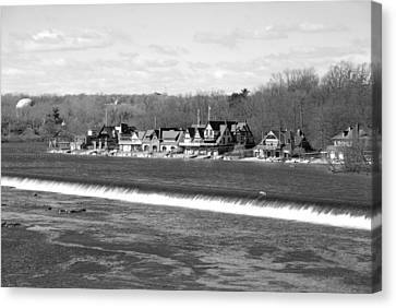 Boathouse Row Winter B/w Canvas Print