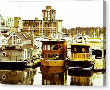 Canvas Print featuring the photograph Boathouses by Eti Reid