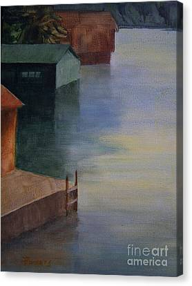 Boathouses Canvas Print by Mary Lynne Powers
