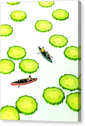 Toy Boat Canvas Print - Boating Among Cucumber Slices Miniature Art by Paul Ge