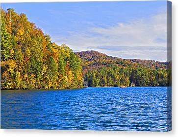 Boating In Autumn Canvas Print by Susan Leggett