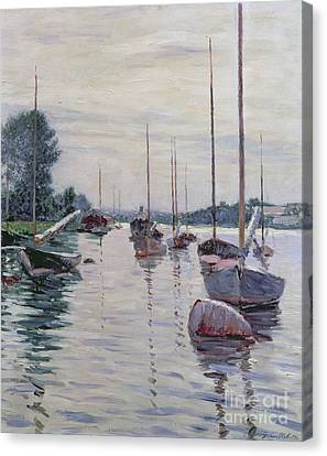 Boats Anchored On The Seine Canvas Print