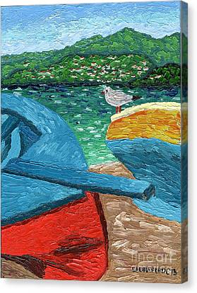 Canvas Print featuring the painting Boats And Bird At Rest by Laura Forde