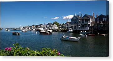 Boats At A Harbor, Nantucket Canvas Print by Panoramic Images