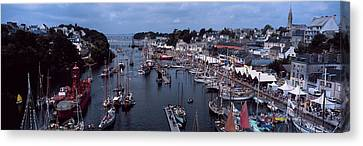 Boats At A Harbor, Port Rhu Harbour Canvas Print