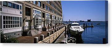 Boats At A Harbor, Rowes Wharf, Boston Canvas Print by Panoramic Images