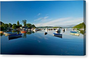Canvas Print featuring the photograph Boats At Balmaha by Stephen Taylor