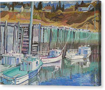 Boats At Halls Harbour Canvas Print by Janet Ashworth