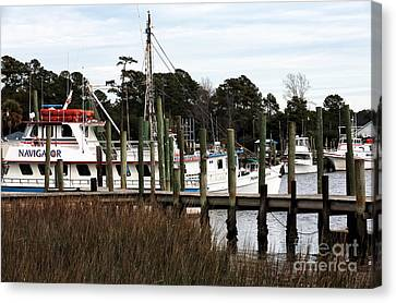 Boats At Little River Canvas Print by John Rizzuto