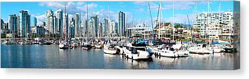 Boats At Marina With Vancouver Skylines Canvas Print by Panoramic Images