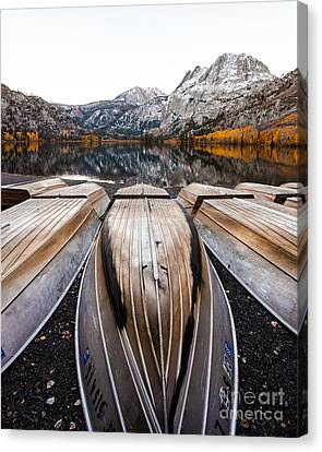 Boats At Mountain Lake In Autumn Fine Art Photograph Print Canvas Print by Jerry Cowart
