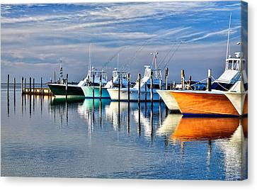Boats At Oregon Inlet Outer Banks I Canvas Print by Dan Carmichael