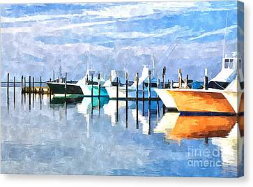 Boats At Oregon Inlet Outer Banks IIi Canvas Print by Dan Carmichael