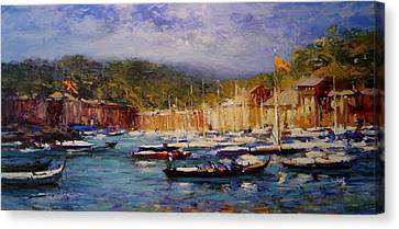 Boats At Portofino Italy  Canvas Print by R W Goetting