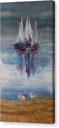Boats At Sea Canvas Print by Carolyn Doe