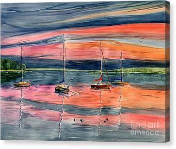 Skaneateles Lake Canvas Print - Boats At Skaneateles Lake Ny by Melly Terpening