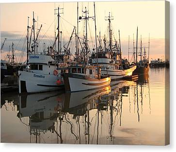 Boats At Steveston Harbour  Canvas Print by Shirley Sirois