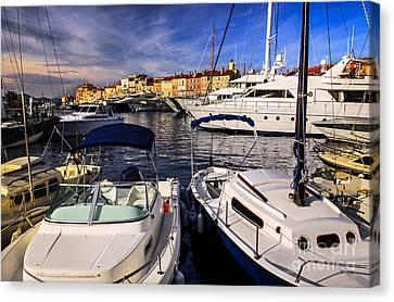 Boats At St.tropez Canvas Print by Elena Elisseeva