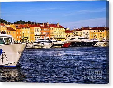 Boats At St.tropez Harbor Canvas Print