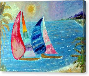 Canvas Print featuring the painting Boats At Sunset 2 by Vicky Tarcau